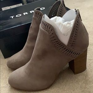 Torrid Gray suede stacked heel bootie 9.5 wide